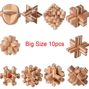 10PCS/SET Big Size Brain Teaser Kong Ming Lock 3D Wooden Interlocking Burr Bamboo Puzzles