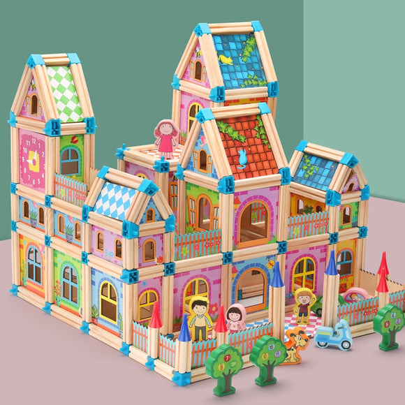 128-268pcs Wooden Doll house