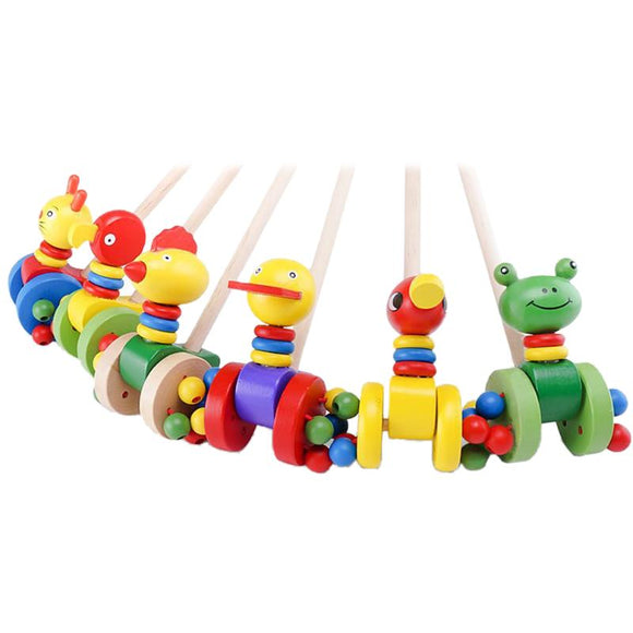 Baby Push Stick Cartoon Animal Cart Wooden Toy