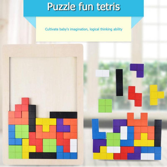 Wooden Tetris Puzzle Board Children's  Early Education Toy