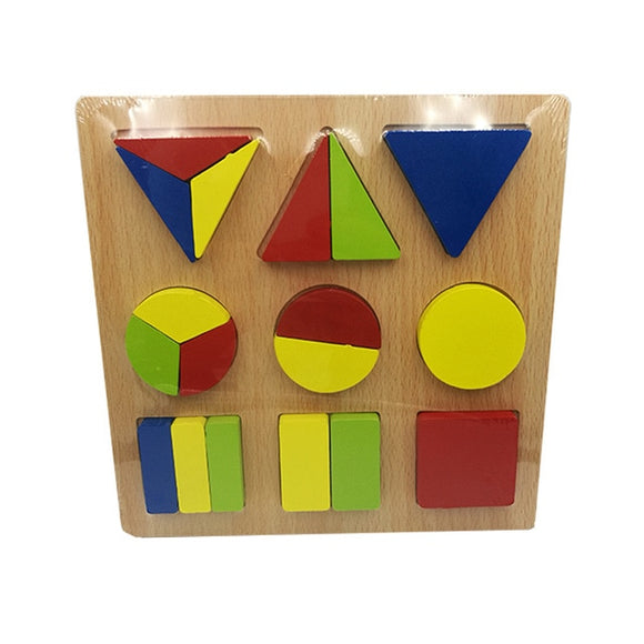 Wooden Colorful Geometry Shape Cognition Puzzle Board