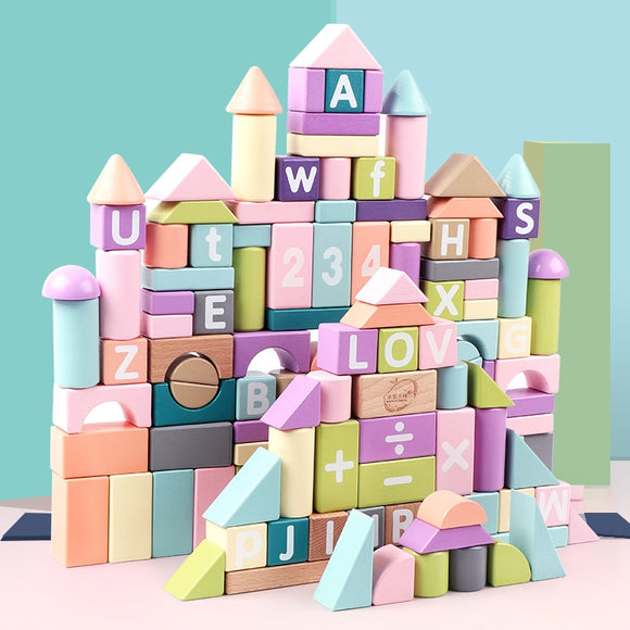 Kid's wooden building blocks with printed on letters numbers and basic mathematical operations