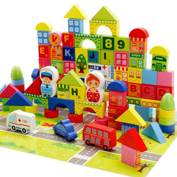 city life vivid colors wooden blocks