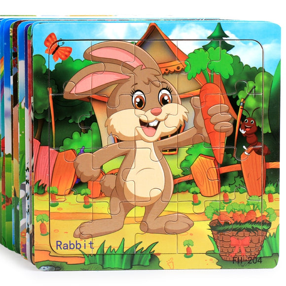 Wooden Jigsaw Puzzles 20Pcs Superior Quality  Cartoon Animals,Vehicles, Numbers and Letters