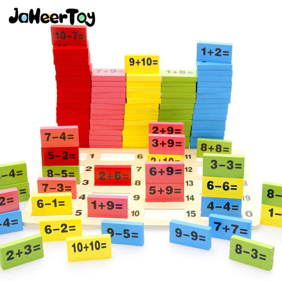 Montessori Educational Toy Wooden Arithmetic Domino Blocks Addition Subtraction Free Gift