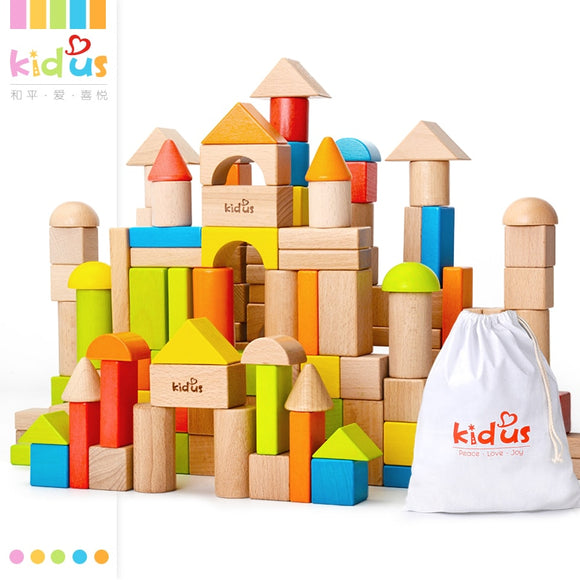 80 PCS Wooden Building Blocks