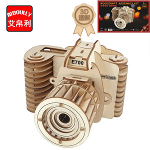 3D Wooden Photo-Camera Replica Assembly Kit