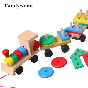 Wooden Stacking Geometry Shapes  Train Toy