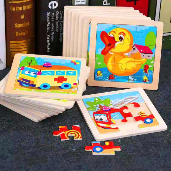 Toddler Wooden Jigsaw Puzzles Cartoon Animal/Vehicles