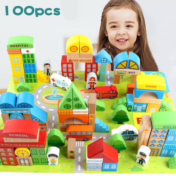 100 Pieces City Life Scenes Geometric Shape Building Blocks in Vivid Colors