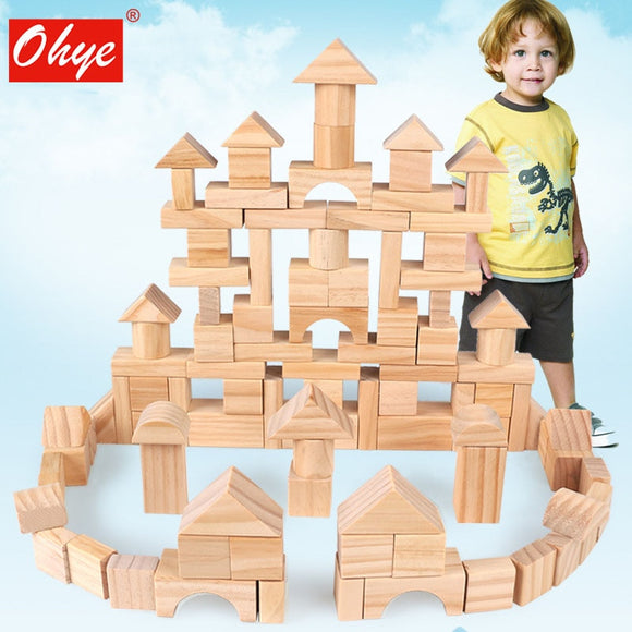 100pcs Wooden Building Construction Blocks