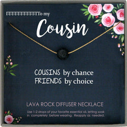 Cousin Gifts for Women Oil Diffuser Necklace Diffuser Jewelry Aromatherapy Necklace Lava stone Lava Stone Diffuser Necklace