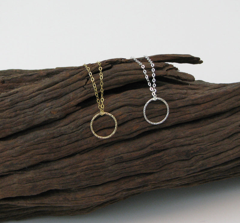 Gold Circle Necklace, Gold Karma Necklace, Eternity Necklace, Dainty