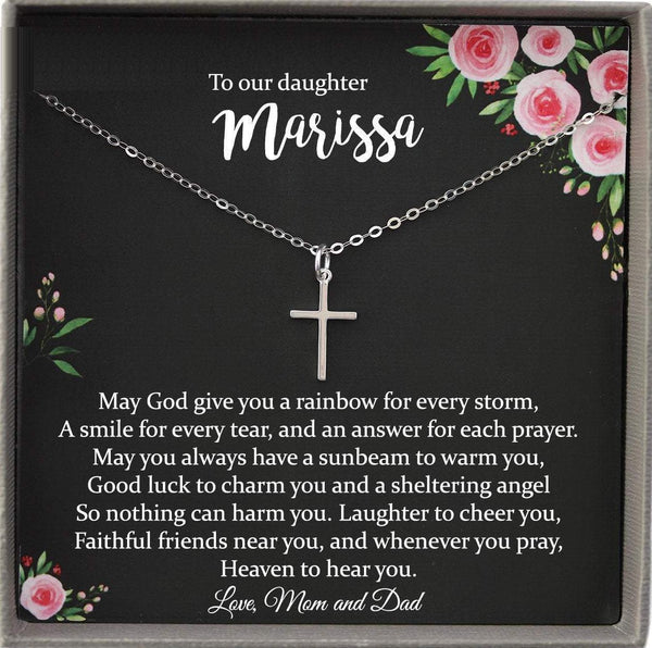 Confirmation Gifts for Girls Personalized Confirmation Gift, Silver Cross Necklace for Girls