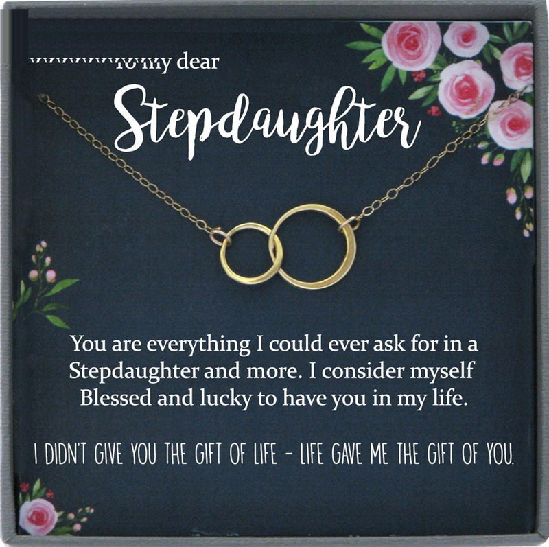 Stepdaughter Gift for Step Daughter, Bonus Daughter Gift Necklace Blended Family Step daughter Gift daughter of bride Interlocking circles