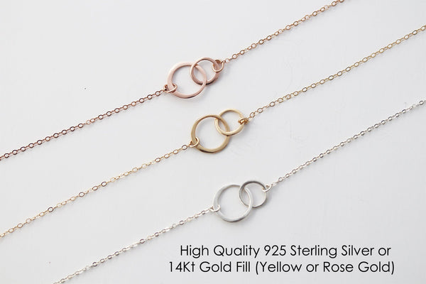 22nd Birthday Gift Necklace, Twenty two birthday gift ideas, Jewlery Gift For Her, 2 Interlocking Circles