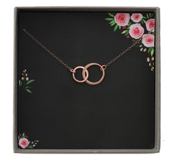 Infinity Necklace Rose Gold, Interlocking Circle Necklace For Women, Simple Mother Daughter Double Circle Pendant, Bridesmaid Jewelry Gifts