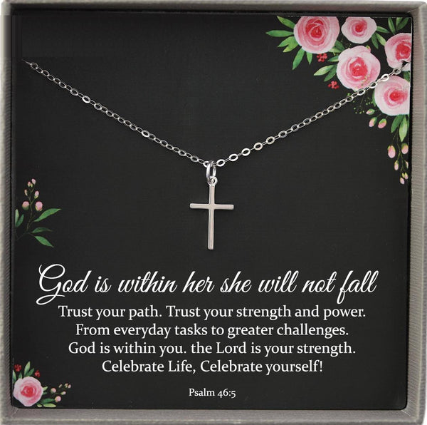 God is within her she will not fall necklace, Recovery gifts, Inspirational Gifts for friend, Psalm 46 5 Necklace, Cancer survivor gift