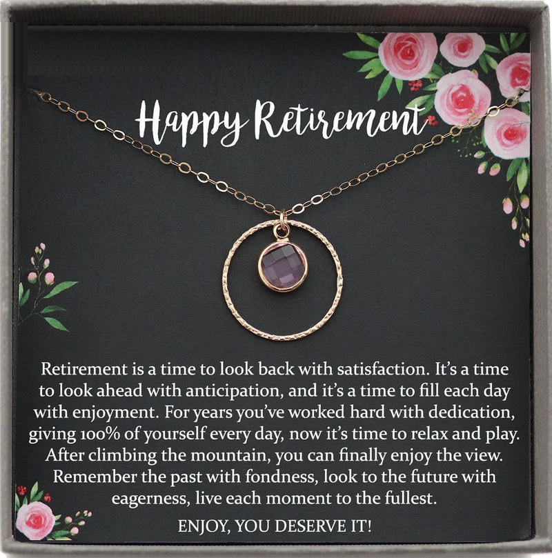 Retirement Gifts for Women, Retirement Necklace: Colleagues, Leave Job, Jewelry from Coworkers, retirement party