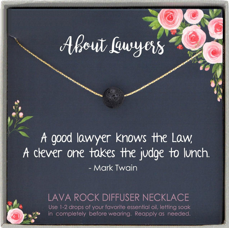 Funny Lawyer Gift for Women Jewelry, Law School Gift for new lawyer Lava rock Necklace with Message