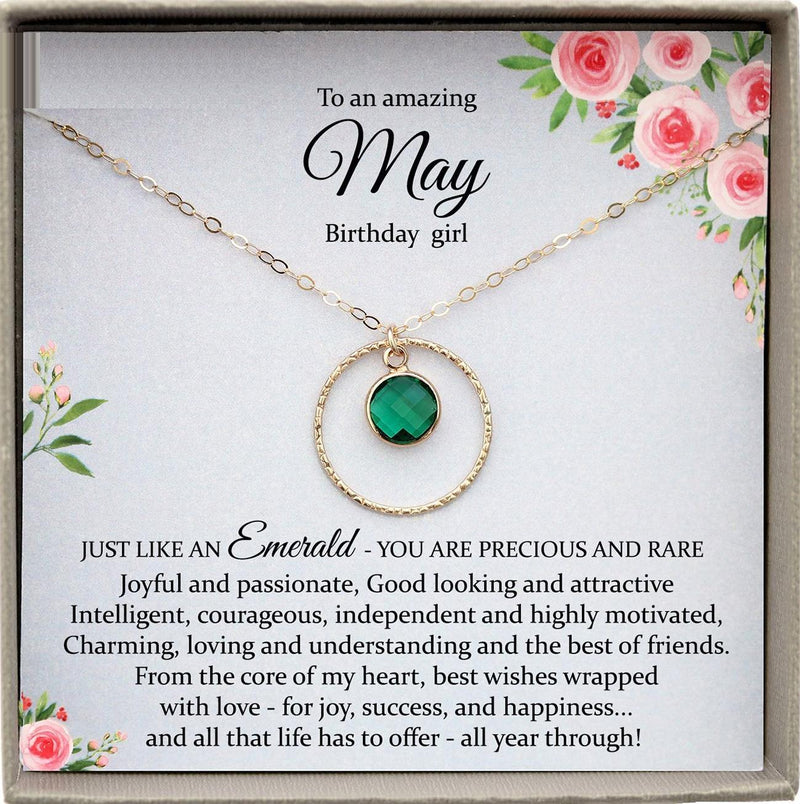 May Birthstone Necklace, May Birthday Gifts, May Necklace, Swarovski Crystal Necklace Emerald Necklace, Birthday Gifts for Her