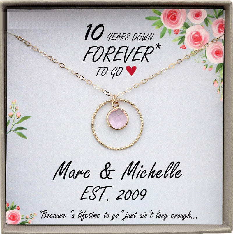10 Year Anniversary Gift Ten years down forever to go personalized 10th anniversary gift ideas Tin Anniversary necklace wedding anniversary