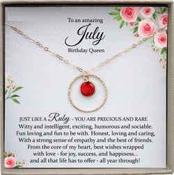 July Birthstone Necklace, Ruby Necklaces for Women