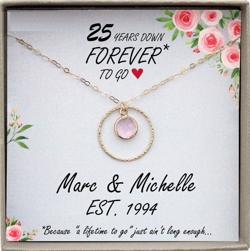 25th Wedding Anniversary Gift Silver Anniversary necklace personalized 25th anniversary gift ideas