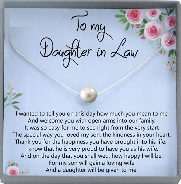 Daughter-In-Law Gift Necklace: Wedding Gift, Jewelry From Mother-In Law, Gift for Bride Single Pearl Necklace