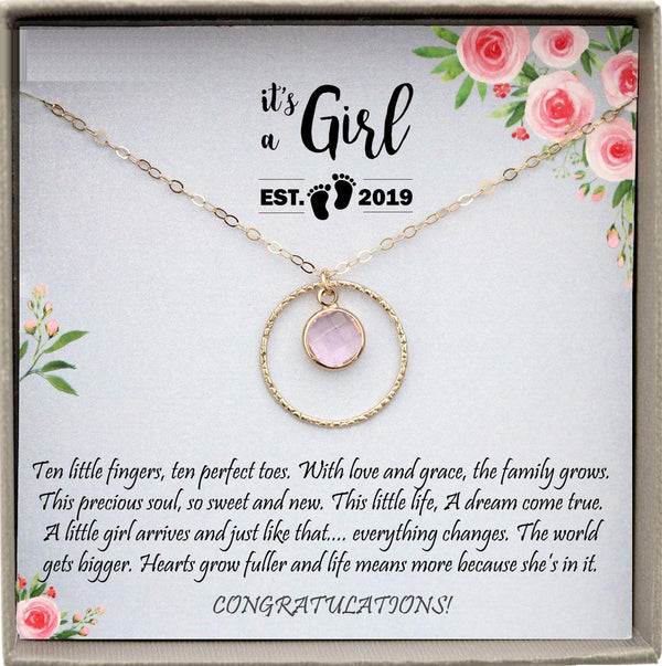 New Baby Girl Gift, First Time Mom Gift for New Mom Necklace Birthstone, Baby Girl Gift Ideas