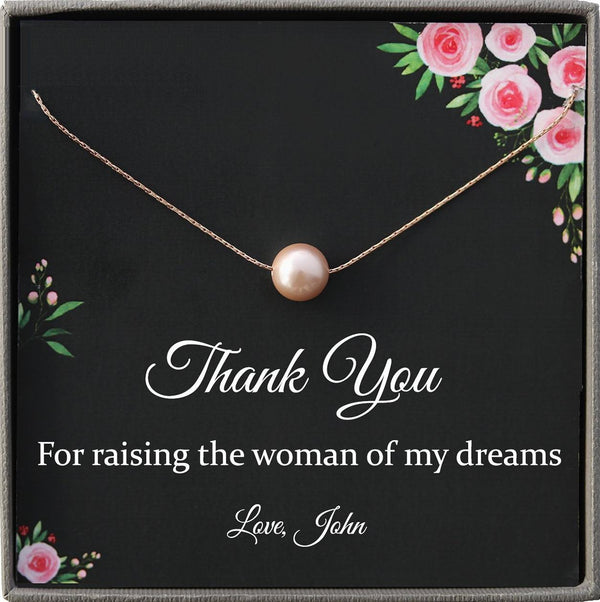 Mother of the Bride Gift from Groom, Thank you for raising the Woman of my Dreams, Future Mother in Law Necklace Poem Message Card