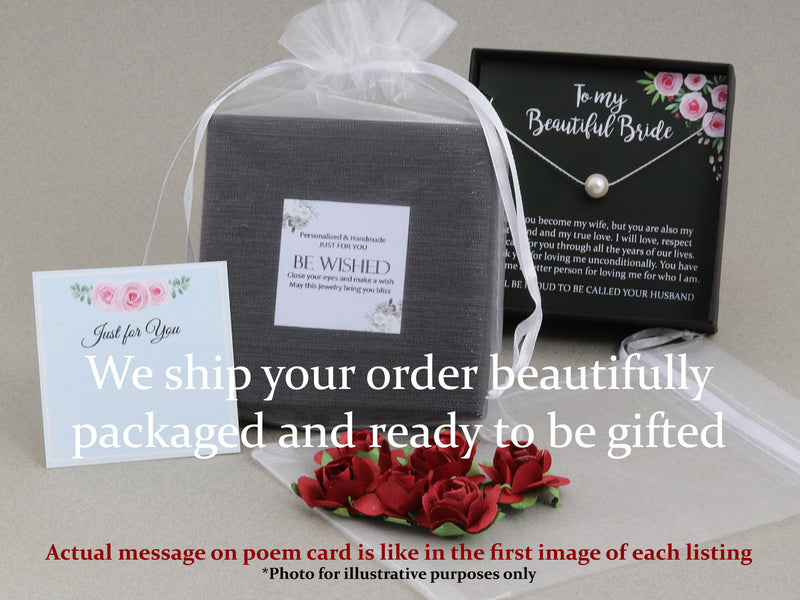 Will you be my Maid of Honor Gift Necklace, Floating Pearl Necklace Bridesmaid, Single Pearl Necklace