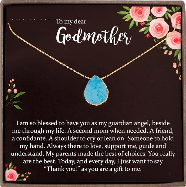 Godmother Gift for Godmother Necklace for Godmother Gift for Christmas Turquoise Necklace
