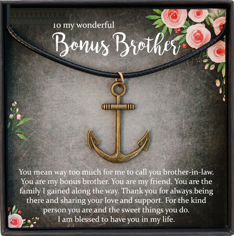 Brother in Law Gift Christmas, Bonus Brother, Brother in Law Wedding Gift, Anchor Necklace Men