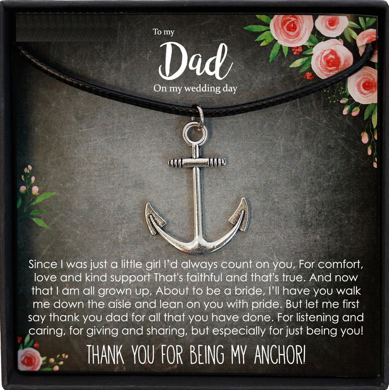 Dad Gift from Daughter Wedding, Father of the Bride Gift from Bride, Dad Gift Wedding, Anchor Necklace Men