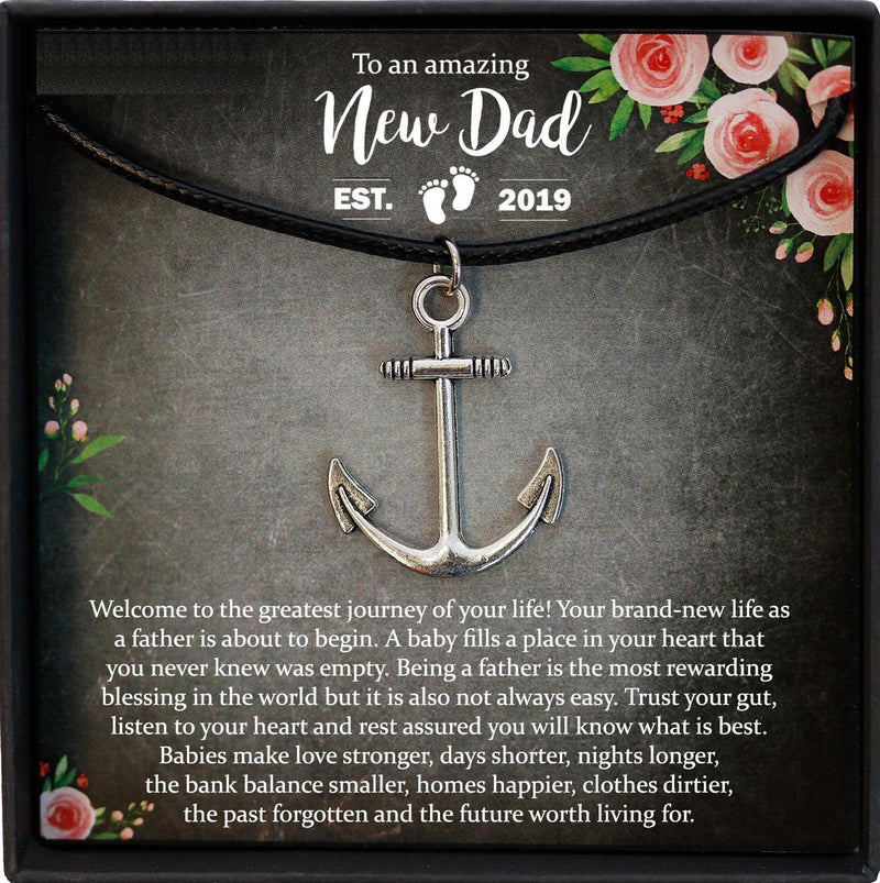 New Dad Gift, First Time Dad Gift, New Father Gift, New Daddy Gift, Expecting Dad Gift, Dad to be Gift, Anchor Necklace Men
