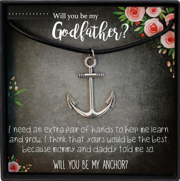 Will you be my Godfather Proposal Gift, Godparent Proposal, Anchor Necklace Men