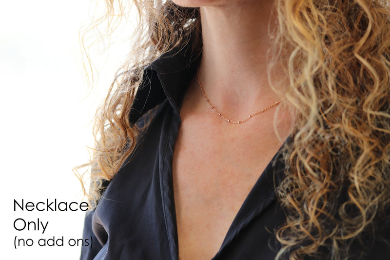 Gold Satellite Necklace, Gold Satellite Chain Necklace Petite Necklaces for Women
