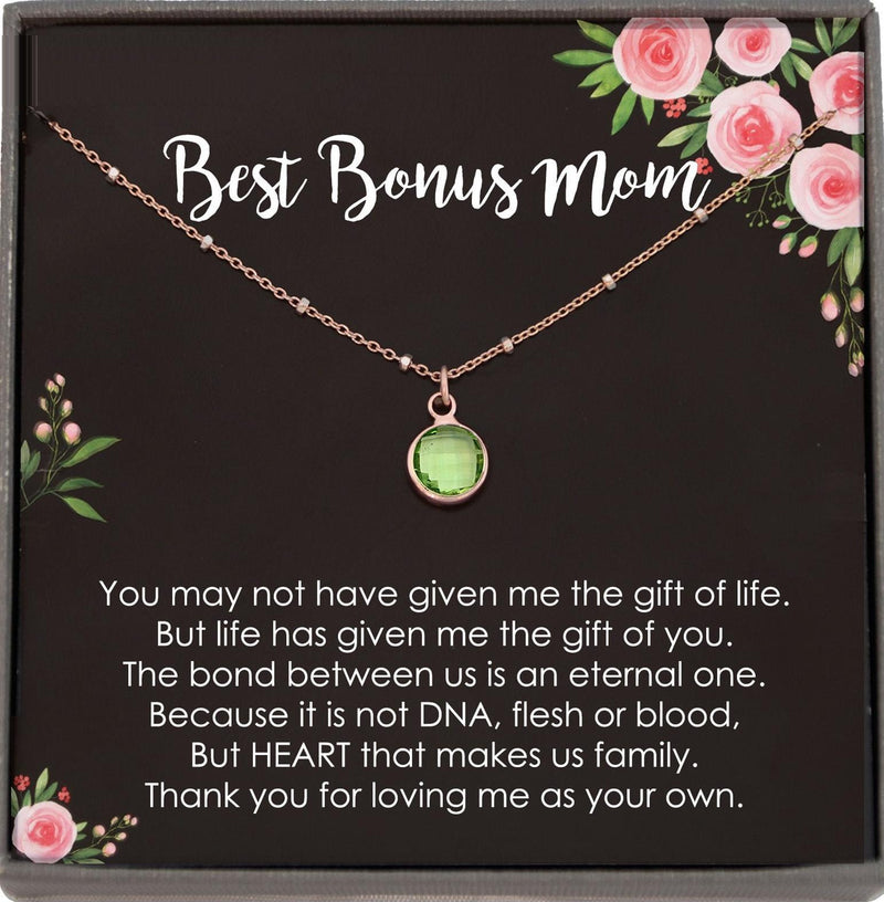 Bonus Mom Gift for Step Mother Gift from Bride, step mom gift for stepmom necklace, step mom wedding gift, Birthstone Necklace