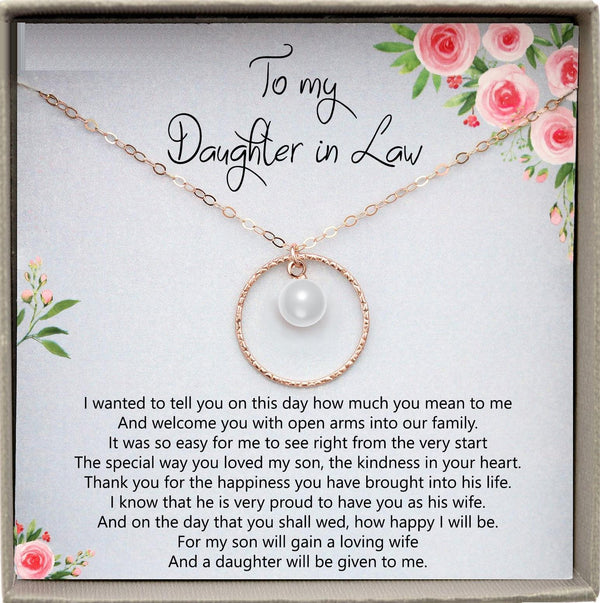 Daughter-In-Law Gift Necklace: Wedding Gift, Jewelry From Mother-In Law, Gift for Bride Pearl Necklace