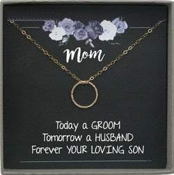 Mother of the Groom Gift from Son, Wedding gift from Groom to Mom, Necklace gift for mom