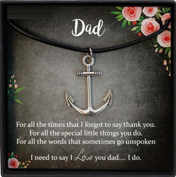 Dad Gift for Dad Christmas Gift, Dad Birthday Gift Ideas, Dad Gift from Daughter Wedding, Anchor Necklace Men