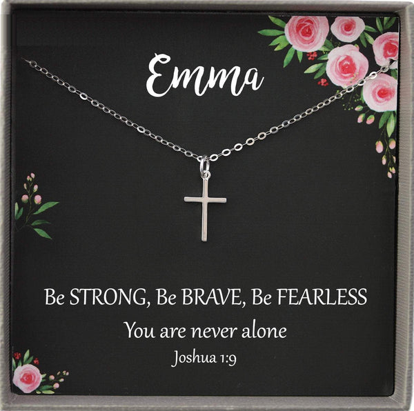 Be Brave Necklace Personalized Necklace Sterling Silver Cross Necklace Women Christian jewelry for women, joshua 1 9