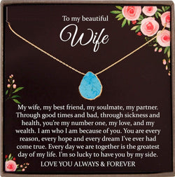 Wife Gift for Wife Turquoise Necklace, Wife Christmas Gift, Husband to Wife Gift Jewelry, Wife Necklace