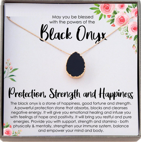 Black Onyx Necklace, Stress Relief Gift for her, Strength Necklace, Black Gemstone Pendant, Protection Necklace, Healing Crystal Jewelry