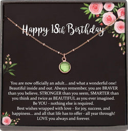 18th Birthday Gift for Girls, Swarovski Birthstone Necklace, Select a Birthstone, Gift for 18 Year Old Girl