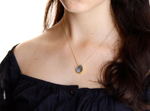 Labradorite Necklace Gold, Inspirational Gift Necklace, Natural Labradorite Gem Slice, Healing Gemstone Gift for Her