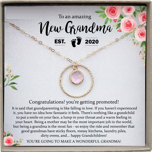 New Grandma Gift, Promoted to Grandma pregnancy reveal Gift for New Grandmother, Birthstone Gift for New Grandma Gifts