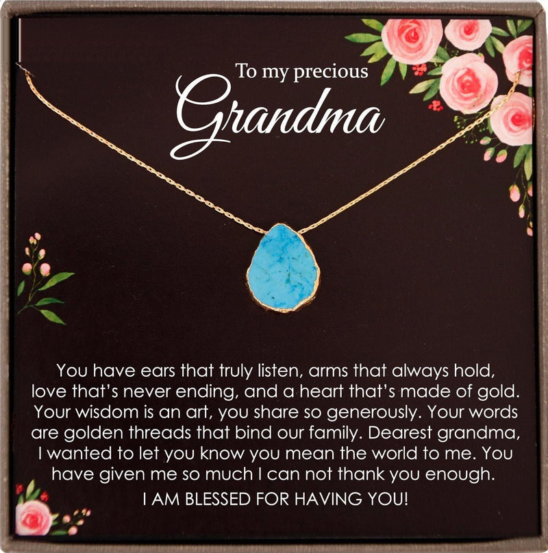 Grandmother Gift Jewelry Grandmother Necklace Gift for Grandma Gift for Grandmother Gift Thank You Grandma necklace Turquoise necklace