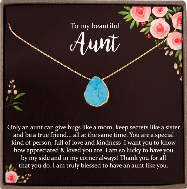 Aunt Necklace, Aunt Gift, Aunt jewelry, gifts for Aunt, Auntie Necklace, New Aunt, auntie gifts, best aunt ever, Turquoise necklace